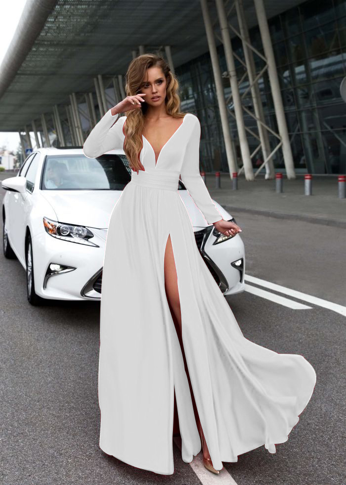 White  V-Neck Front Slit Long Prom Dress With Sleeve Summer Women Party Gowns