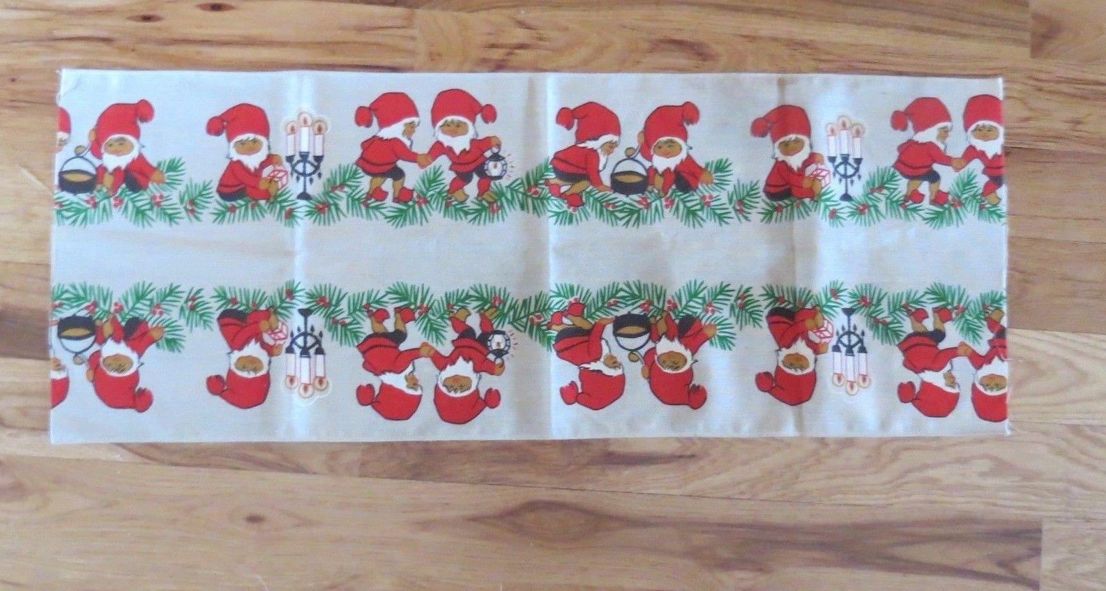 "Vintage Cotton Christmas Fabric Piece Border Pattern  Elves Pixies Gnomes 40 """