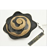 ESTATE Jewelry VINTAGE CHANEL TWO TONE LAMBSKIN CAMELLIA FLOWER BROOCH NWT - $275.00
