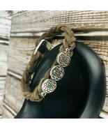 Braided Brown Leather Cord Create Silver Button Clasp Bracelet Large - $29.69