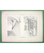ITALY Genoa Angers Architectural Staircases  - Antique Print - $6.75