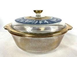 Fire King 408 Grecian Hellenic Top with Gold Flecks Bottom 2 Qt. Casserole Dish - $99.95