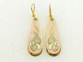 "LAUREL BURCH ""Wild Anthurium"" Pink Enamel Gold-Tone Drop Dangle Hook EAR... - $25.00"