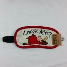 Sleep Mask Almoose Asleep Moose Lazy One Cream Red Trim Eye Cover Dark T... - $13.16 CAD