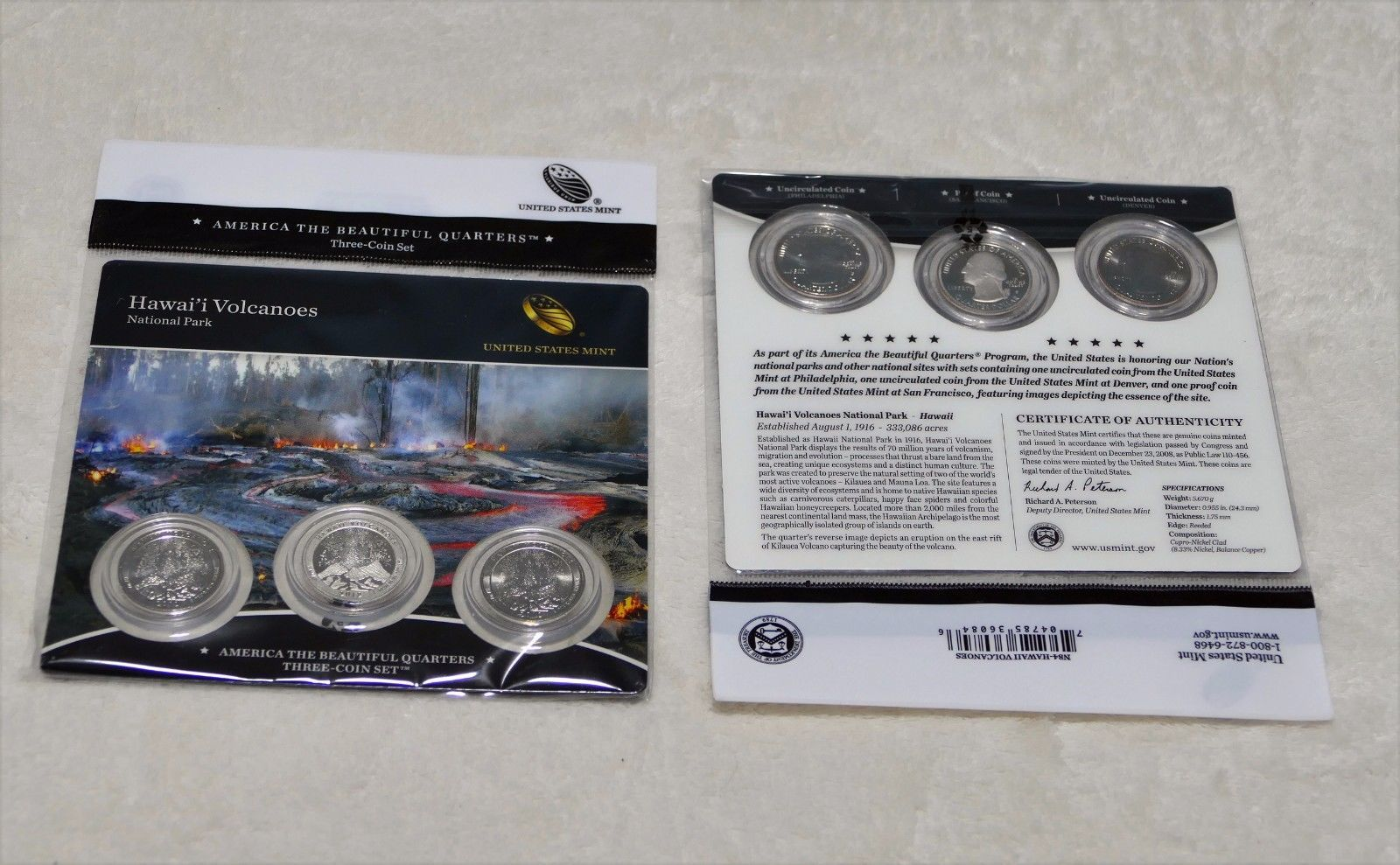 5 2012 US Mint Hawaii Volcanoes ATB Quarters 3 Coin Set Sealed Hard To Find  Lot