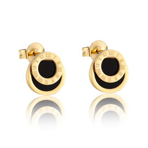High Quality Black Enamel Roman Numerals Stud Earrings For Women/Men Gir... - $9.29