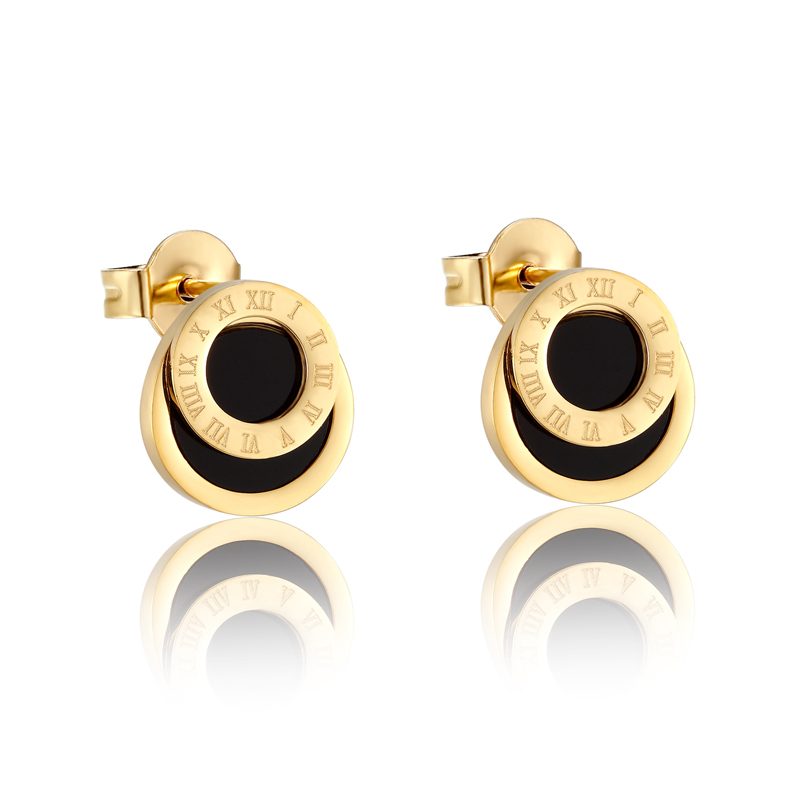 Primary image for High Quality Black Enamel Roman Numerals Stud Earrings For Women/Men Girls Pierc