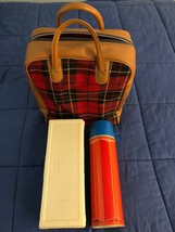 1974 Vintage Picnic Set Red Plaid Bag w Thermos King Seeley Bottle & Lunch Box - $14.84