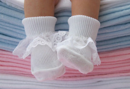 6 Pairs Baby Girls White Cotton rich lace top Socks 3-5.5 UK, 12-24 Months - $14.50