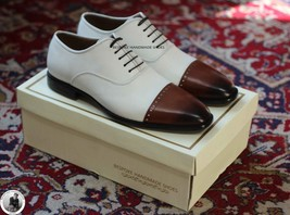 Handmade Men's Genuine White And Brown Leather Toe Cap Oxford Lace Up Shoes - $144.99