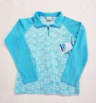 New Columbia Blue Glacial Print Half Zip Lightweight Fleece Jacket Youth Large - $16.18