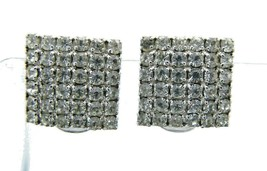 Clear Rhinestone Square Silver Tone Clip-On Earrings Vintage - $24.74