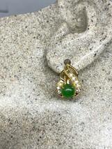 Vintage Jade Earrings Gold Bronze - $43.56