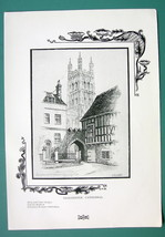 ENGLAND Gloucester Cathedral - 1901 Offset Litho Print - $8.55