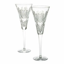 WATERFORD Crystal Wedding Heirloom Toasting Flute Champagne Pair New  #1... - $276.21
