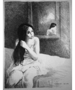 "Rare Raphael Soyer ""Untitled/ Woman sitting on a bed"" Lithograph Art Print - $319.99"
