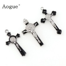 Enamel saint benedict medal cross religious pendants and black rope wire cross pendants thumb200