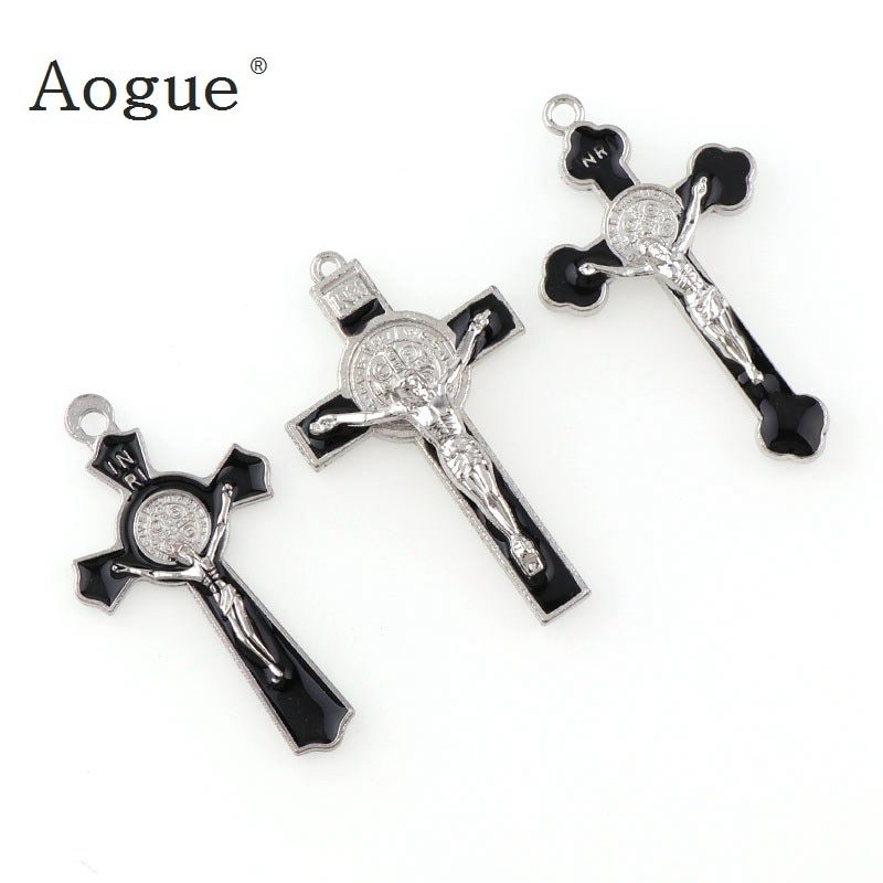 Primary image for INRI Crucifix Black Enamel Saint Benedict Medal Cross Religious Pendants and Bla