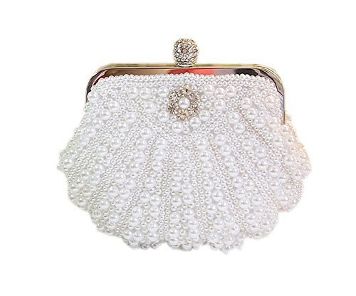Cute Beads Sea Shell Clutch Bag Mini White Party Clutch