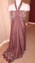 Pretty Maxi Dress Women's S Jr's M Pink Green Multi Print Sleeveless Att... - $4.46