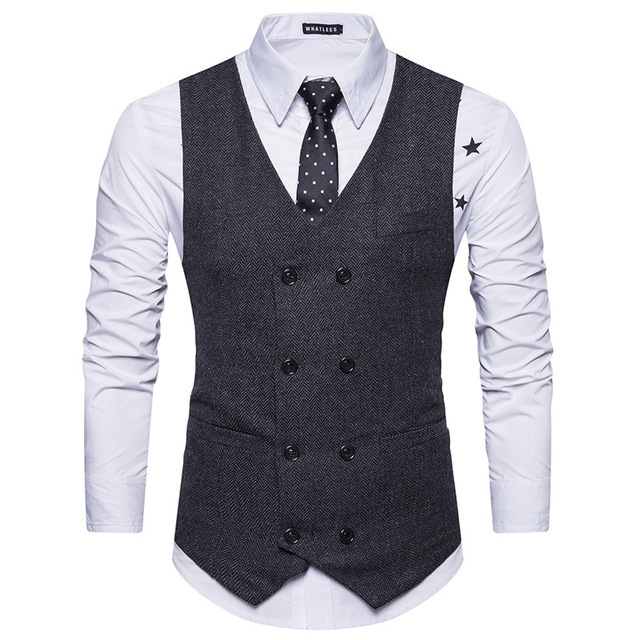 Mens European Double Breasted Wool Blend  Vest Suit for sale  USA