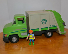 PLAYMOBIL RECYCLE GARBAGE TRUCK WITH MINI ACTION FIGURE PLAYSET 2011 - $12.96