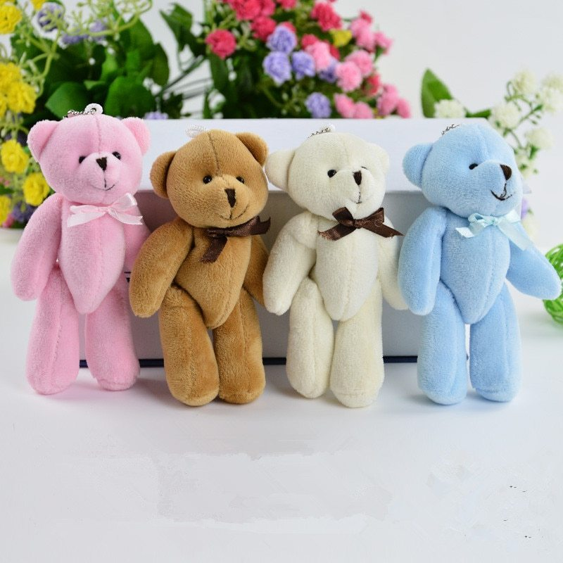 50pcs lot 8cm bow tie joint teddy bear plush toys gift diy creative handmade jewelry accessories