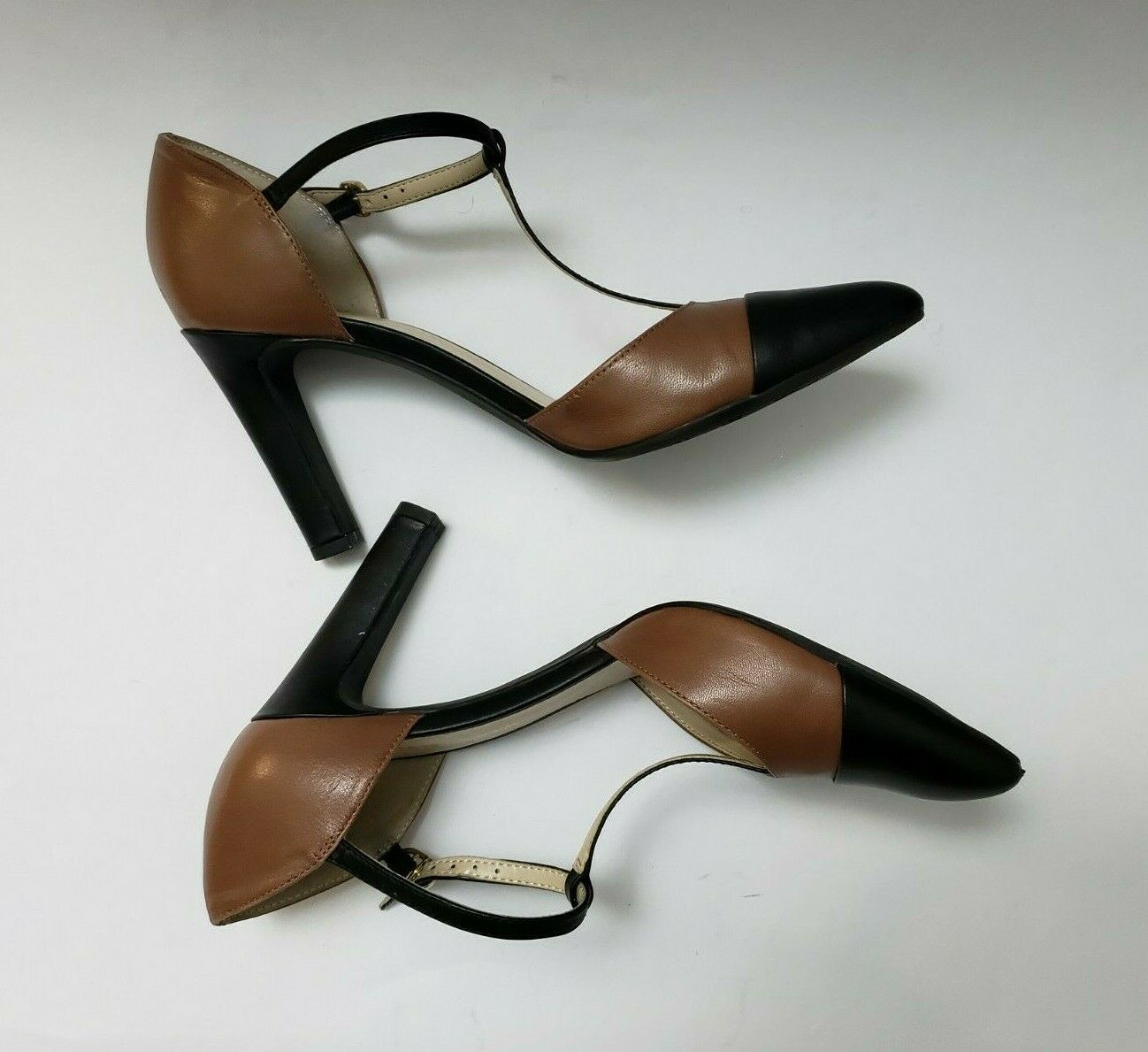 Franco Sarto Shoes Heels Brown Black T-Strap Tanda Womens Size 8.5 M image 9