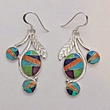Sterling Silver Inlay Multi-Stone 3 Oval Round Opal Feather Hook Dangle ... - $69.99