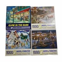 Lotto 4 Bits And Pieces 1000 Pezzi Natale Puzzle - $31.17