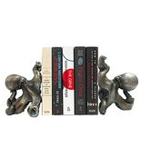 Pacific Giftware Antique Silver Octopus Decorative Bookends Set 5 Inch Tall - £21.01 GBP