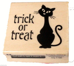 Black Cat Trick or Treat Rubber Stamp NEW Halloween Craftsmart Wood Mount - $4.00