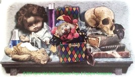 Gothic Horror LABORATORY SKULL DOLL TOYS Haunted House Halloween STICKER... - $4.67