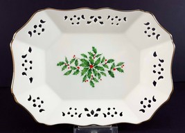 "LENOX China Holiday Dimension Pierced Relish/Olive Tray 9"" Dinnerware - $14.84"