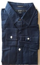 Sean John Men Dress Shirt Blue Classic Fit XL White Thread Cotton Long Sleeve - $25.71