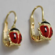 18K YELLOW GOLD PENDANT LEVERBACK KIDS EARRINGS GLAZED LADYBIRD MADE IN ITALY image 3