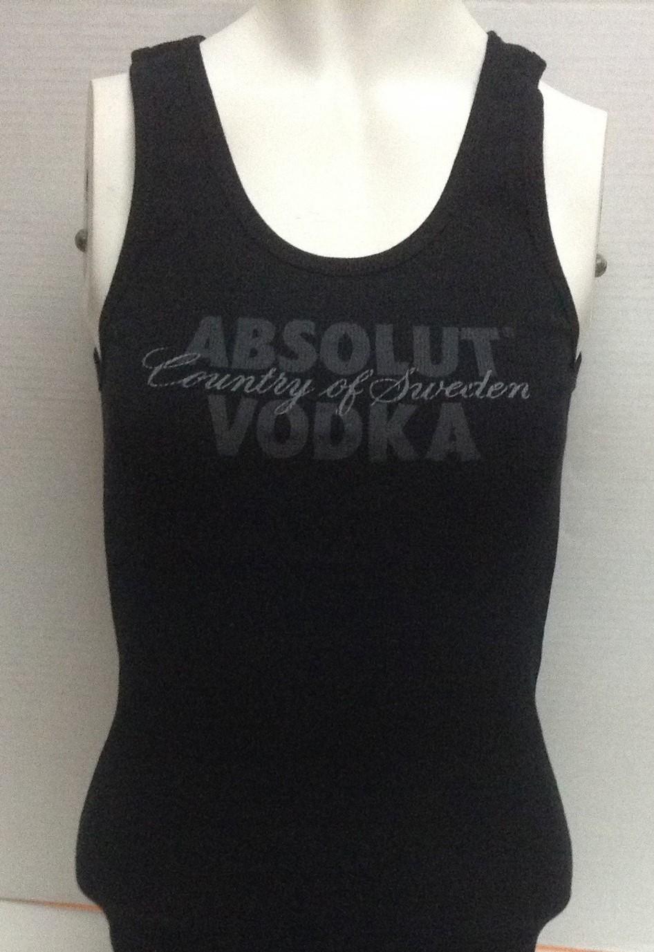 Women's Absolut Vodka Black Tank Top NWOT Sz M Made in USA