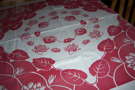 vintage floral tablecloth smokey red - $30.00