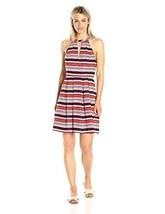 L kensie Striped Cutout Fit Flare Dress orange multi short sleeve 1097 - $19.49