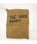 Vintage 1980s? The Shoe Works Burlap Bag Sack Storage Drawstring Stencil... - $14.95