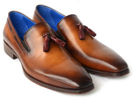 Tassel Men Burnished Toe Brown Tone Genuine Leather Handcrafted Loafers Shoes - $139.99+