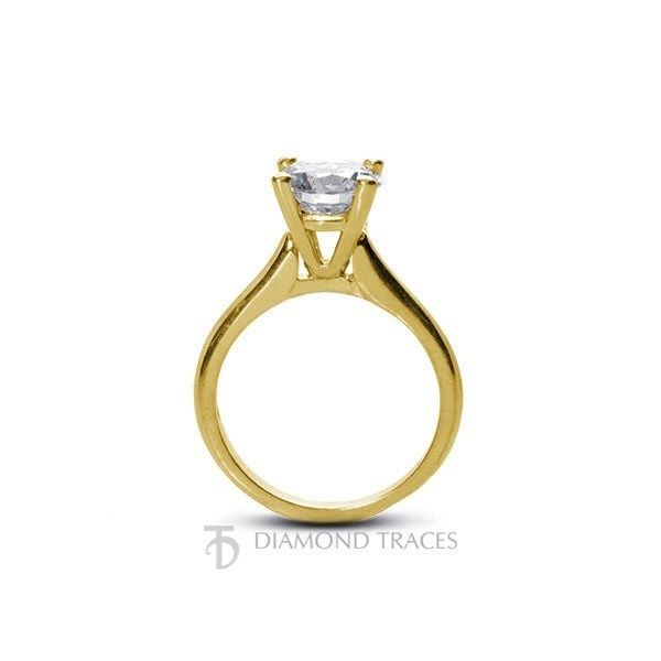 0.59ct E-SI2 Ideal Round Genuine Diamond 18k Gold Cathedral Solitaire Ring 2.8mm