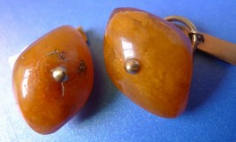 m14 Vintage USSR Jewelry Honey Baltic Amber CUFFLINKS Gold Plated marked... - $58.00