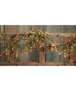 Fall Floral Garland 6' Green Branch Doorways Mantles Autumn Velvet Ash - $39.59