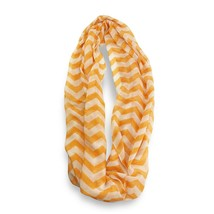 Orange White Chevron Stripped Infinity Scarf Loop Sheer Wrap Scarves - $9.49