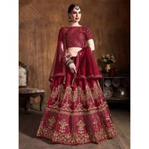 Red Heavy Sequins Work Silk Designer Lehenga Choli - $165.00