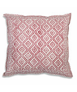 Farmhouse MILO COTTON THROW PILLOW Country White Red Abstract Sofa Cushi... - £28.34 GBP