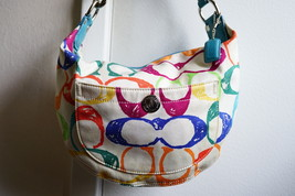 Coach hobo handbag multicolored C logo, blue interior lining - $50.00