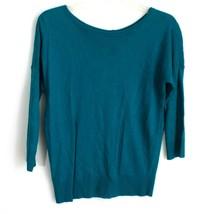 Ann Taylor Sweater Women Petite Medium Blue Button Back PM - $18.19