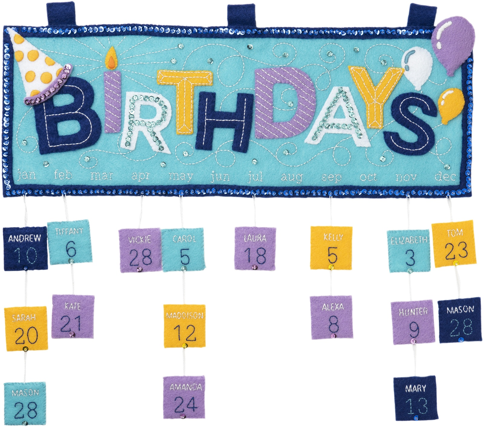 Primary image for Bucilla Felt Applique Wall Hanging Kit-Birthday Calendar
